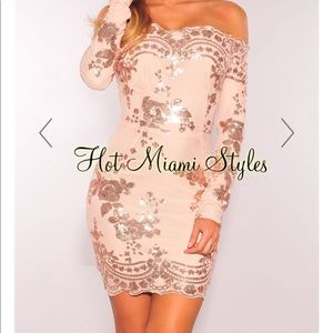 Hot Miami Styles-  Sequins Off Shoulder Dress